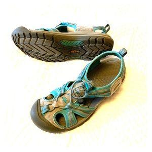 Aqua and Gray Keen sandals
